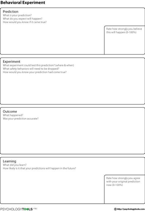 Behavioral Experiment CBT Worksheet   Psychology Tools
