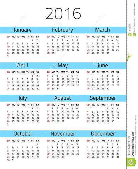 Calendario X Semana Calendario Por 2016 A 241 Os Ilustraci 243 N Vector Imagen