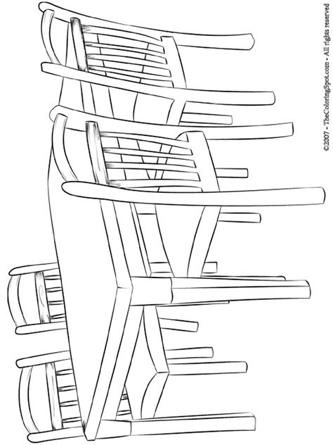 coloring page of a kitchen table table chairs audio stories for kids free coloring
