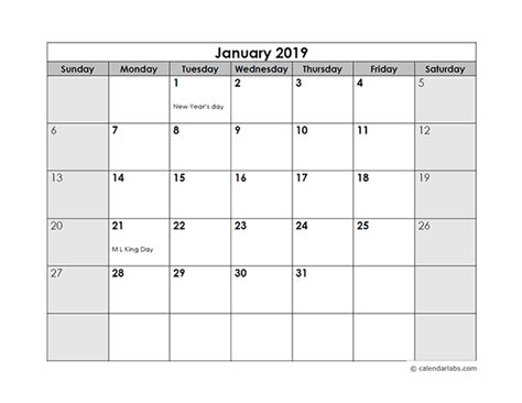 monthly calendar   holidays  printable templates