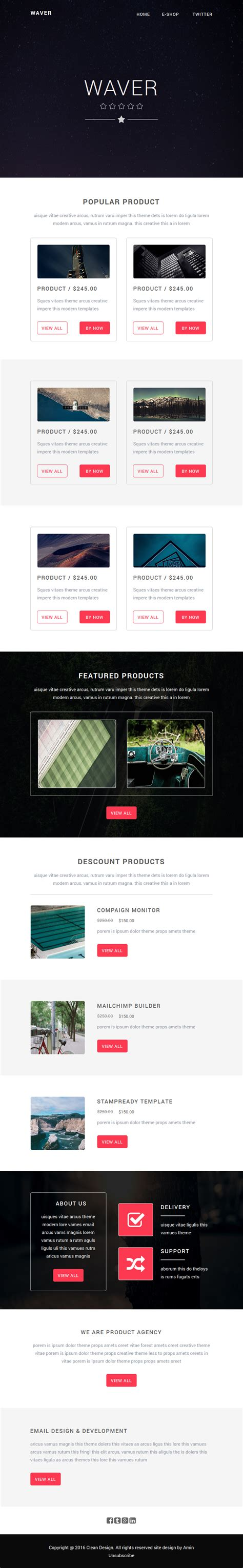 Waver Ecommerce Email Template With Builder Themes Templates Yahoo Ecommerce Website Templates