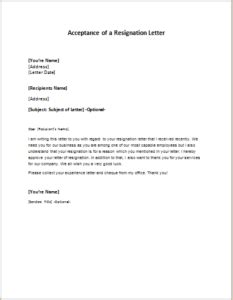 Acceptance Letter Of Resignation By Employer Acceptance Of A Resignation Letter Writeletter2