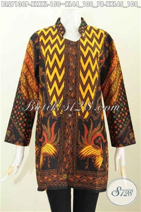 F20217014mot5 L Xl Blus Batik Tulis Panjang Atasan Batik Kantor Mrh batik blus wanita dewasa pakaian batik halus produk