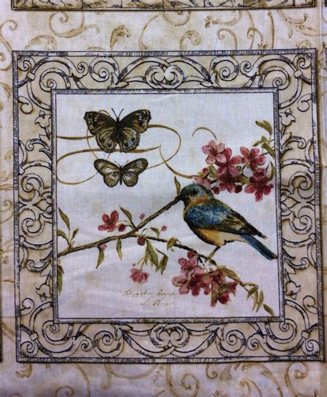 natures poetry panel birds flowers butterflies cotton