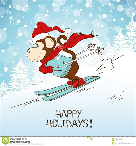funny cartoon skiing monkey stock vector image