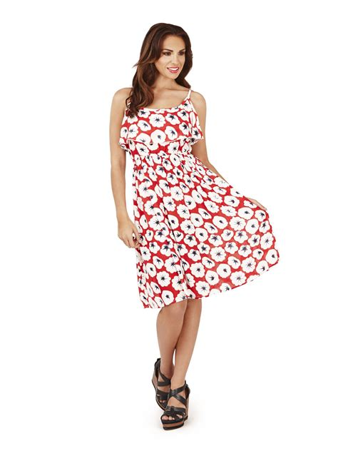 Kalung Fashion Plopy Blue pistachio womens floral poppy knee length summer dress blue ebay