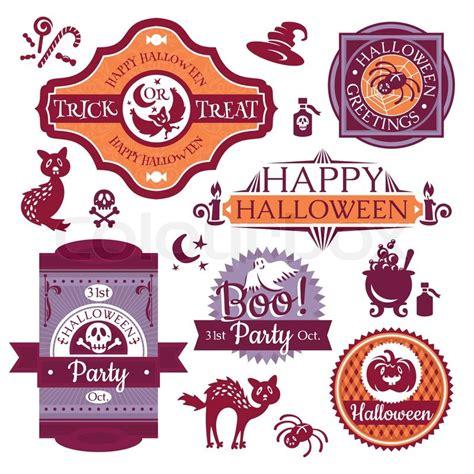vektor illustration von cartoon halloween k 252 rbis sammlung von halloween etiketten und schilder