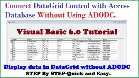 tutorial visual basic database access how to connect datagrid control with access database