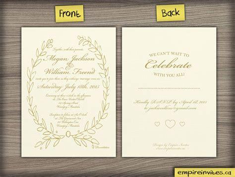 Custom greek style wedding invitation From Winnipeg