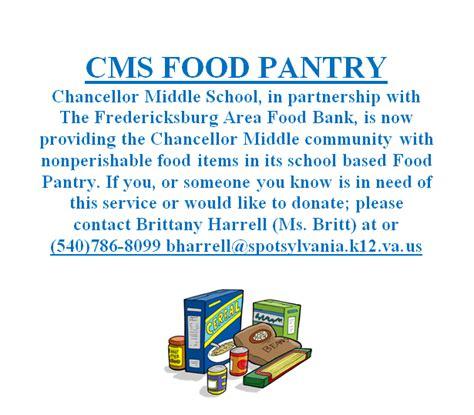Fredericksburg Food Pantry by Chancellor Middle Homepage
