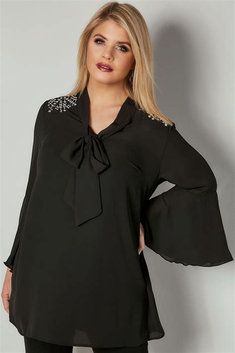 Sm Blouse Bugsize Wash Biru Blouse Size Wash Biru black bow blouse with studded details plus size 16 to 32