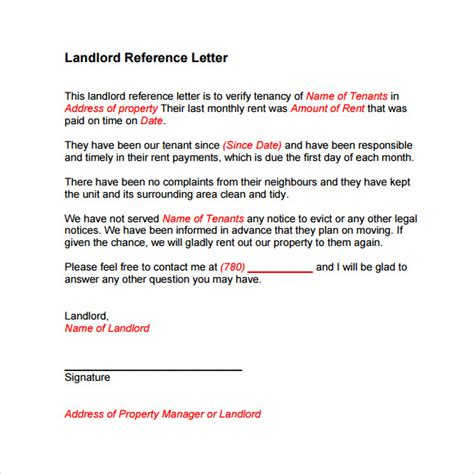 landlord reference letter template 8 download free