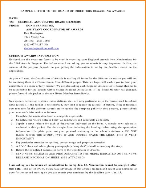 Nomination Withdrawal Letter Format sle award nomination letter for employee world of
