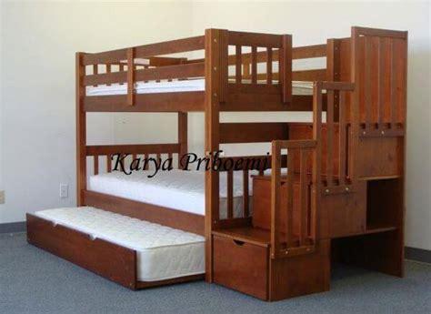 Kasur Tingkat Kayu Jati tempat tidur tingkat tiga kasur