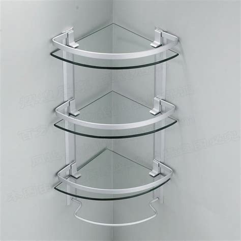 glass corner bathroom shelves best aluminum 3 tier glass shelf shower holder bathroom