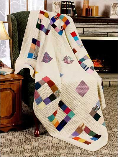 Patchwork Squares Patterns - knitting textured patchwork squares afghan