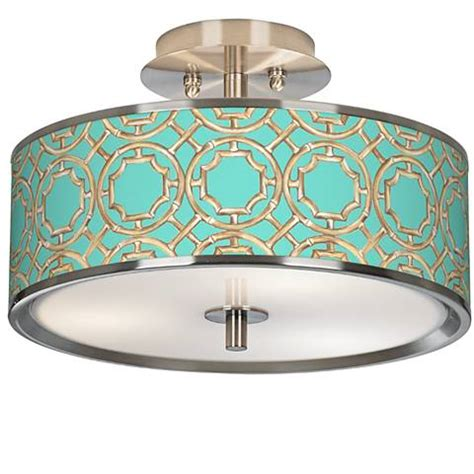 Teal Ceiling Light Shades Teal Bamboo Trellis Giclee Glow 14 Quot Wide Ceiling Light T6396 5m861 Ls Plus