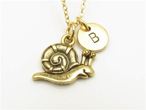 snail necklace gold snail charm initial necklace