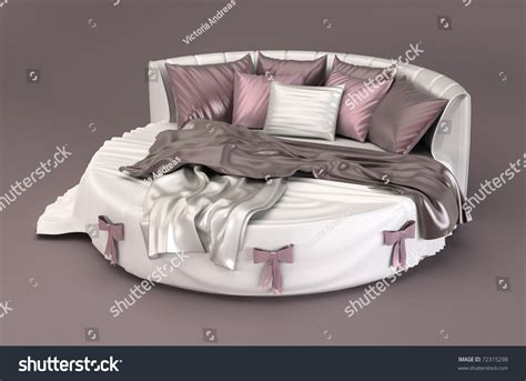round bed pillows round bed with silk pillows in bedroom interior stock