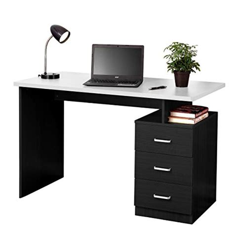 fineboard home office desk with 3 drawers black white