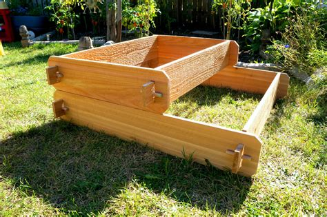 Outdoor Raised Planters by Raised Garden Bed 2 Tier Cedar Raised Planters Raised Beds