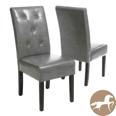 Grey Leather Dining Chair Christopher Home Grey Bonded Leather Dining Chair Set Of 2