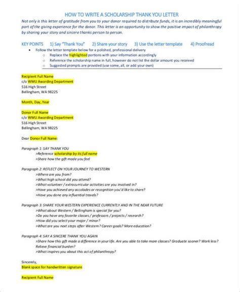 Scholarship Thank You Letter Unknown Donor 34 free thank you letters free sles in pdf doc