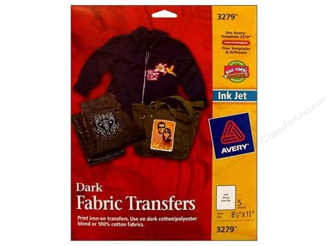 avery iron on transfers polyester avery fabric transfers 8 1 2 x 11 in dark t shirt 5 pc