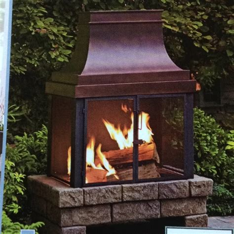lowes 89801 outdoor fireplace with faux base by