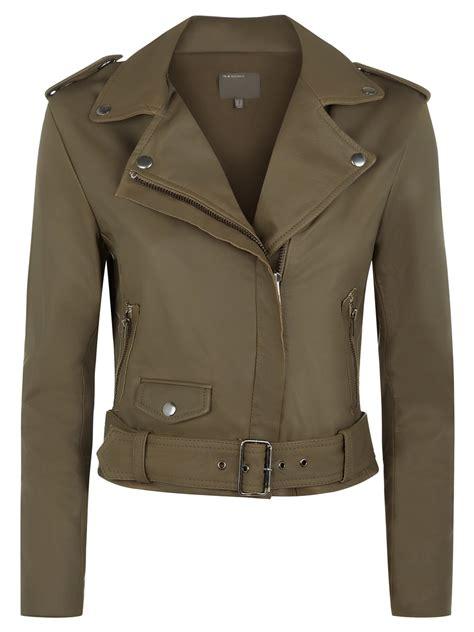 Khaki Jacket reina khaki leather biker jacket