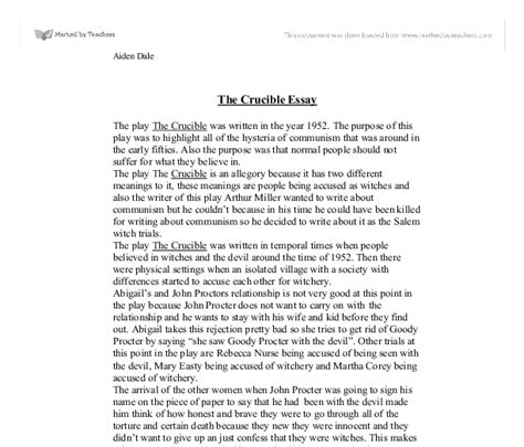 Miller Essay by The Crucible Gcse Marked By Teachers