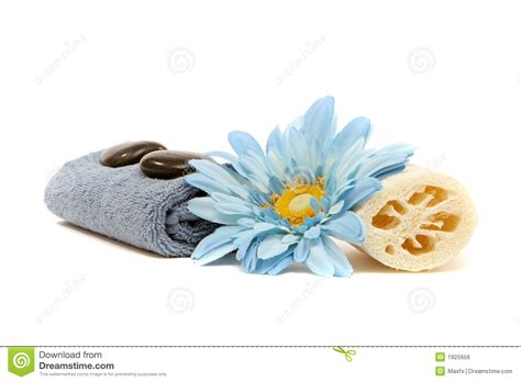 Spa Bathroom Ideas spa towel loofah flower and rocks royalty free stock