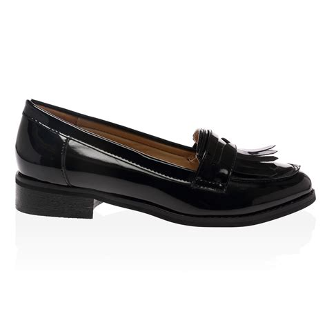 womens loafers black womens black patent low heel fringe loafers slip on