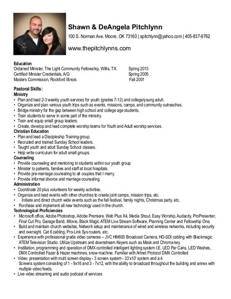 Ministry Resume by Pitchlynn Resume