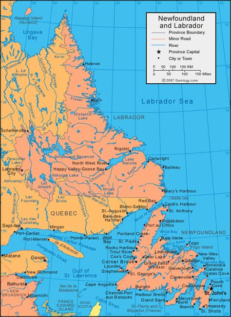 newfoundland map newfoundland and labrador map satellite image roads lakes rivers cities