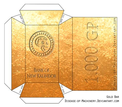 Gold Craft Paper - gold bar papercraft by disease of machinery on deviantart