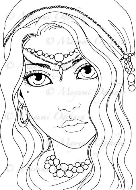 gypsy girl digital st colouring page printable instant