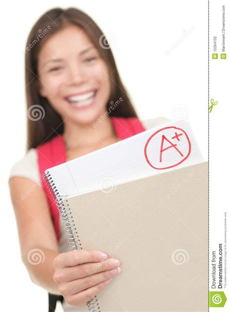 shown in student showing grade test results stock photography
