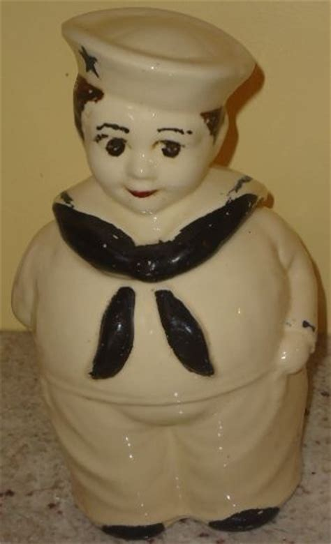 vintage shawnee sailor boy cookie jar displayed