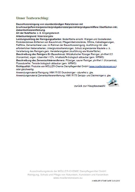 Muster Angebot Grundreinigung Ausschreibungstexte F 252 R Architekten Moellerstonecare