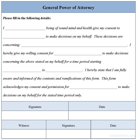general power of attorney template general power of attorney form sle general power of