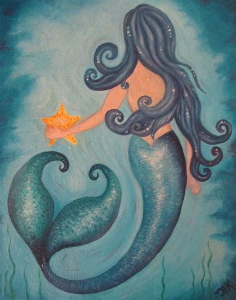 mermaid painting myfirst original mermaid painting available on etsy take