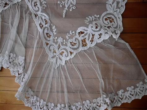 swiss tambour curtains off white large french or swiss tambour net lace panel