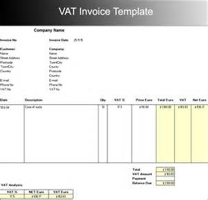 free vat invoice template sle vat invoice rabitah net