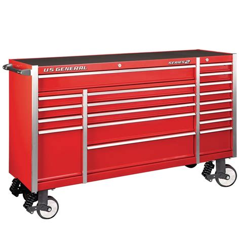 triple bank roller cabinet red