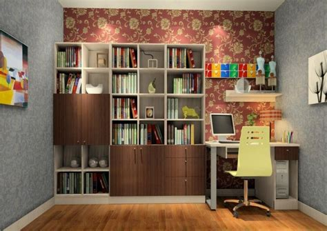 study decorating ideas flower wallpaper unit 3d house