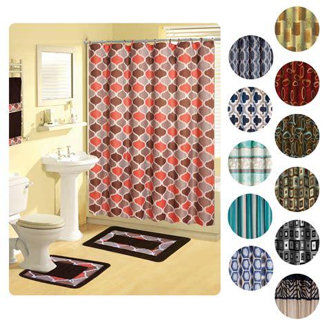 Modern Bathroom Rugs And Towels Shower Curtains 17 Pcs Set Contemporary Bath Mat Contour