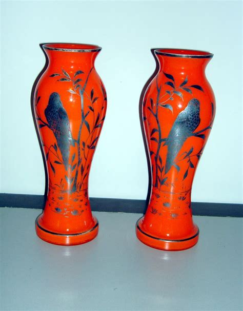 vintage silver overlay czechoslovakian glass vases from