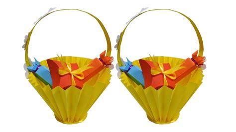 Origami Gift Basket - diy basket how to make paper basket paper basket origami