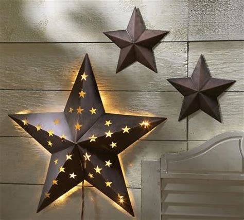 star home decor 3 pc rustic metal barn star set wall art home decor new